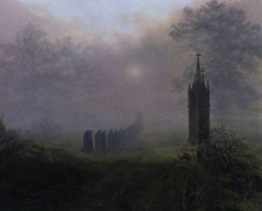 Ernst Ferdinand Oehme Procession in the Fog  Procession dans le brouillard 1828.jpg